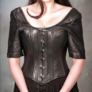 Steel boned handcrafted couture leather corset Sca